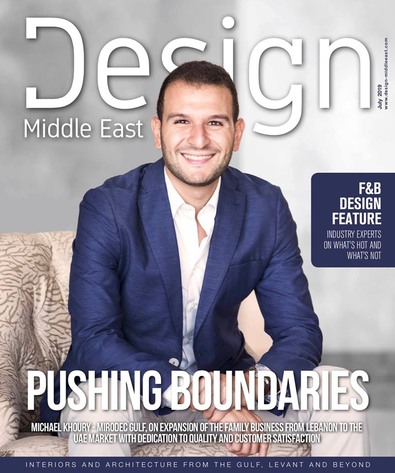 , Mirodec featured on the cover of Design Middle East Magazine